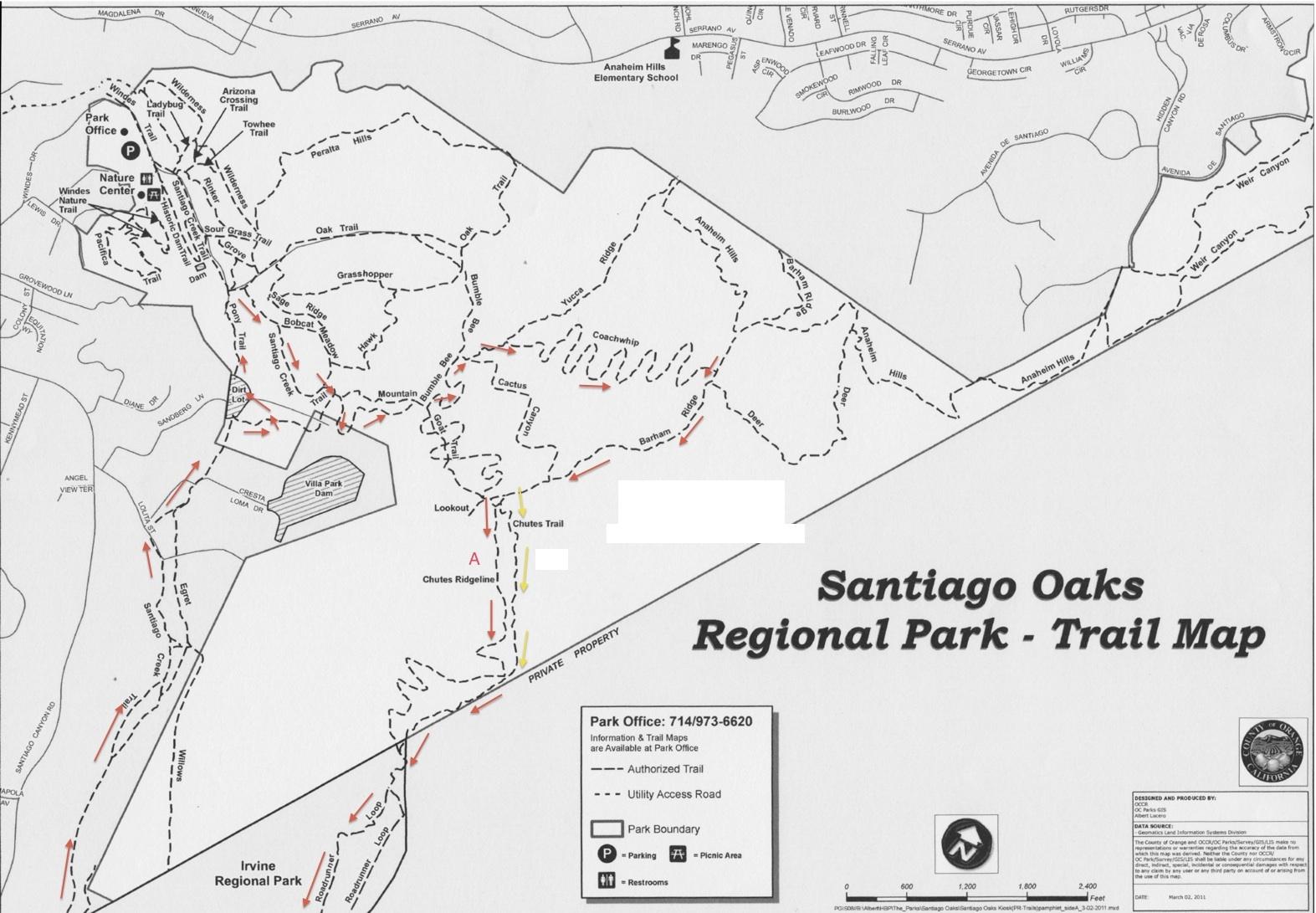 Santiago Oaks Map Non Dot Adventures